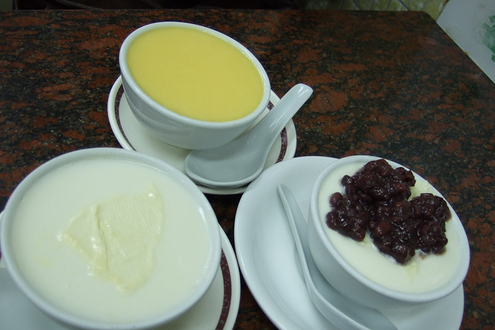 original, ginger and red bean steamed milk pudding