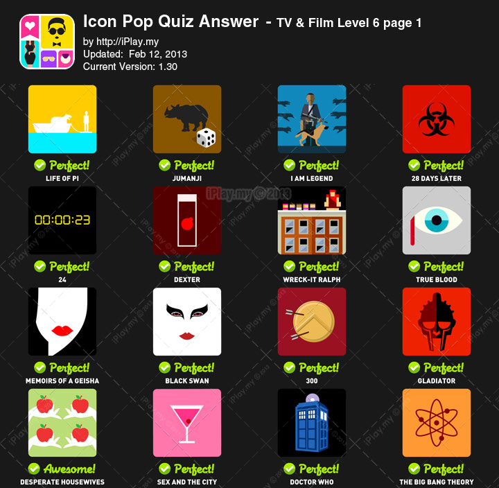 Icon Pop Quiz Answer TV Film Level 6a