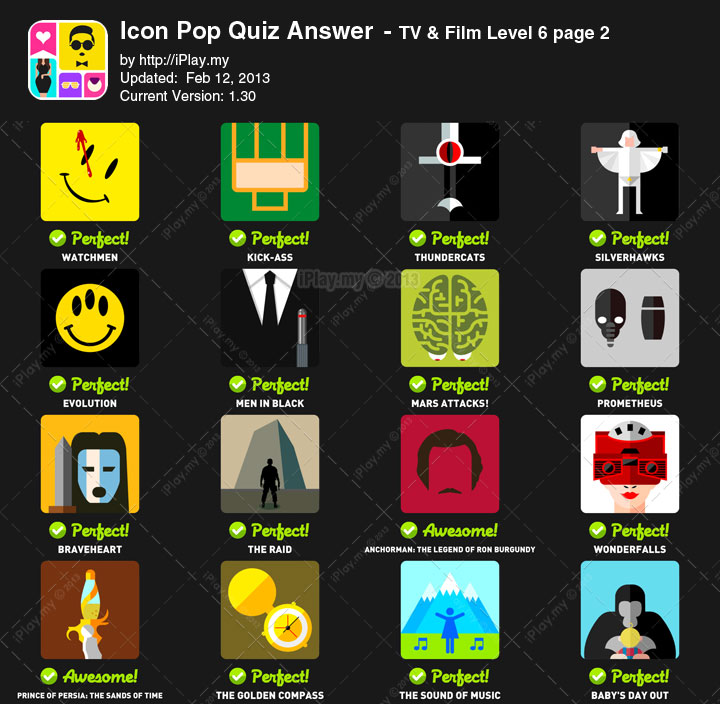 Icon Pop Quiz Answer TV Film Level 6b