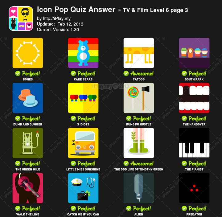Icon Pop Quiz Answer TV Film Level 6c