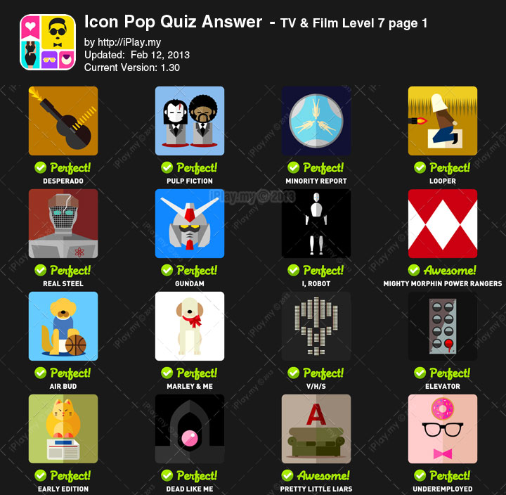 Icon Pop Quiz Answer TV Film Level 7a