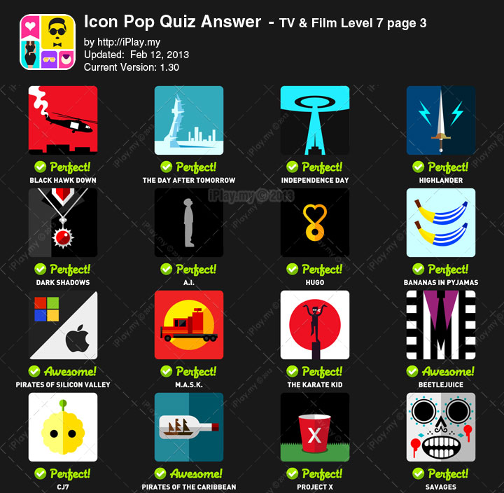 Icon Pop Quiz Answer TV Film Level 7c