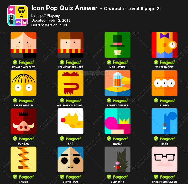 Icon Pop Quiz Answers Character Level 6b