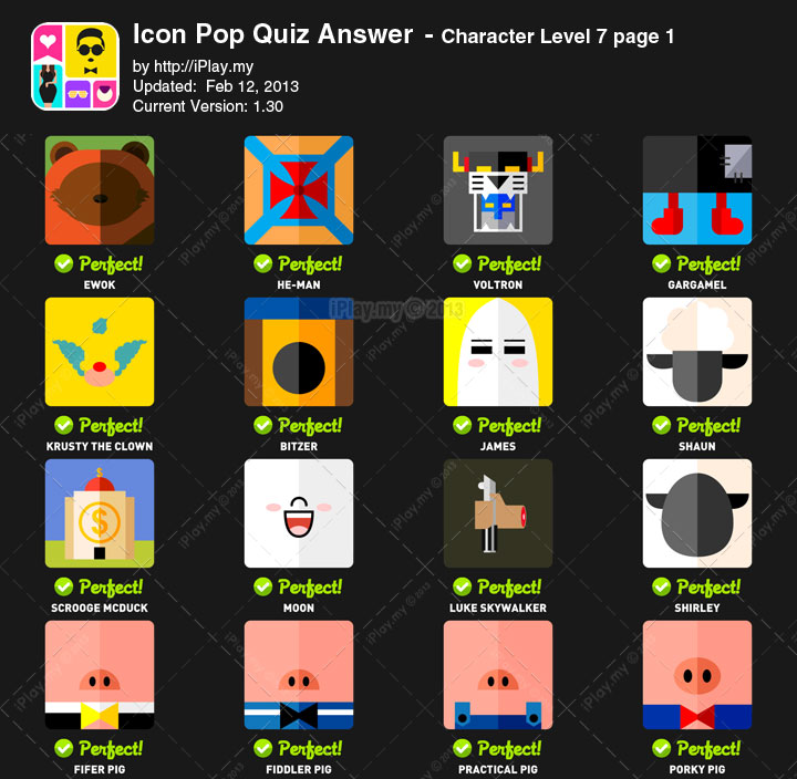Icon Pop Quiz Answers Character Level 7a