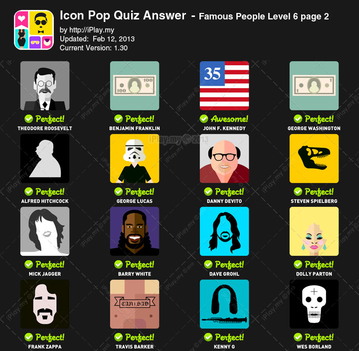 Icon Pop Quiz Answer Famous People Level 6b