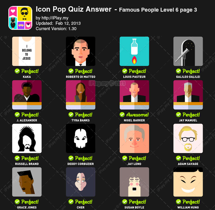 Icon Pop Quiz Answer Famous People Level 6c