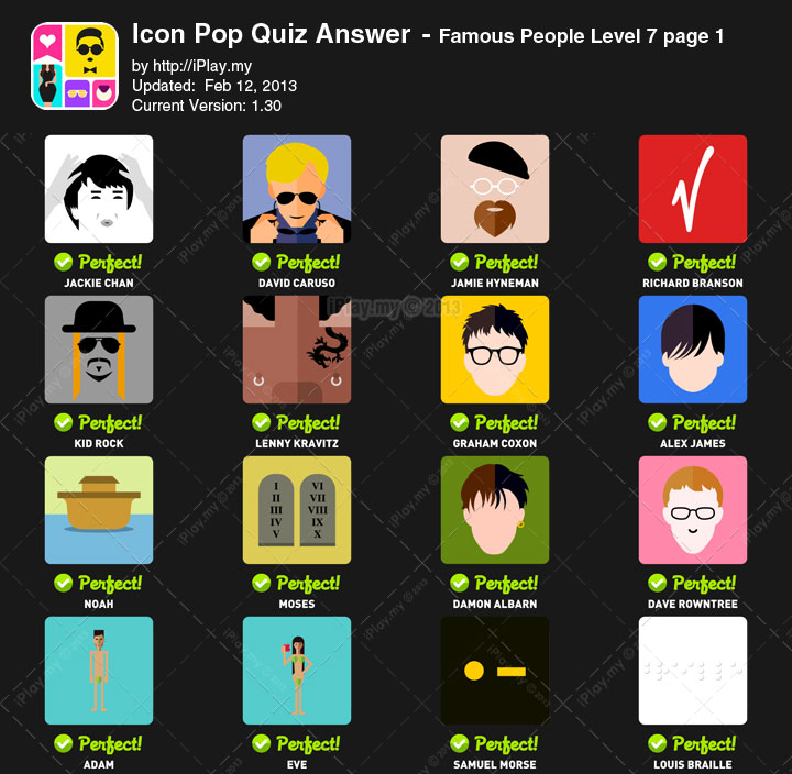 Icon Pop Quiz Answer Famous People Level 7a