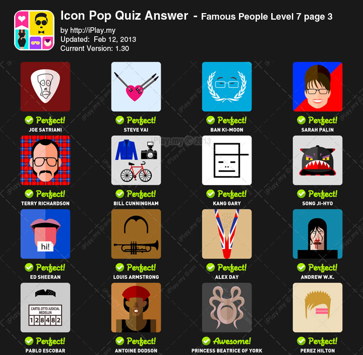 Icon Pop Quiz Answer Famous People Level 7c