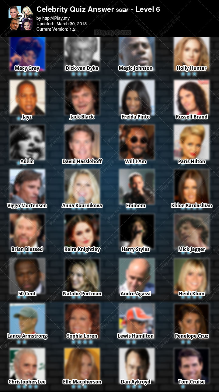 Celebrity Quiz Answers sgem level 6