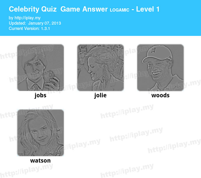 Celebrity Quiz Game Answers Level 1