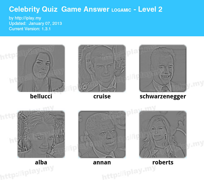 Celebrity Quiz Game Answers Level 2