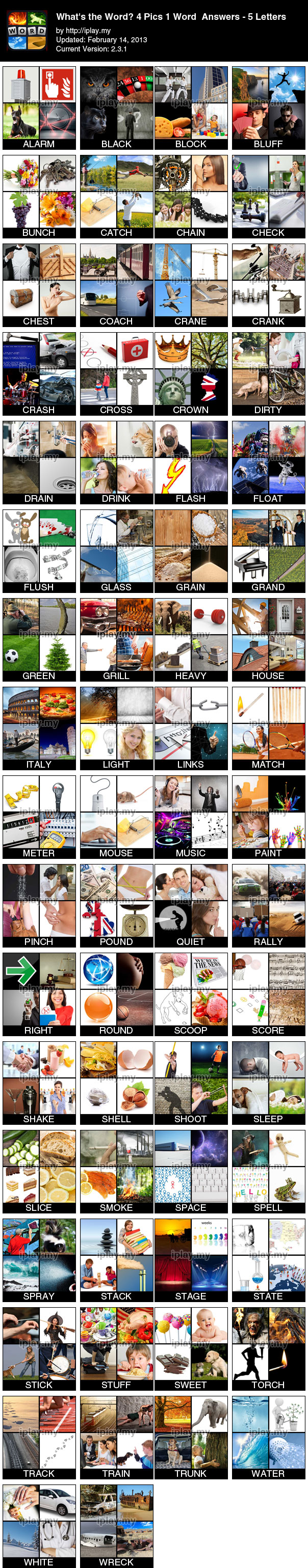 the current answers to cheat 5-Letter words trivia in 4 Pics 1 Word