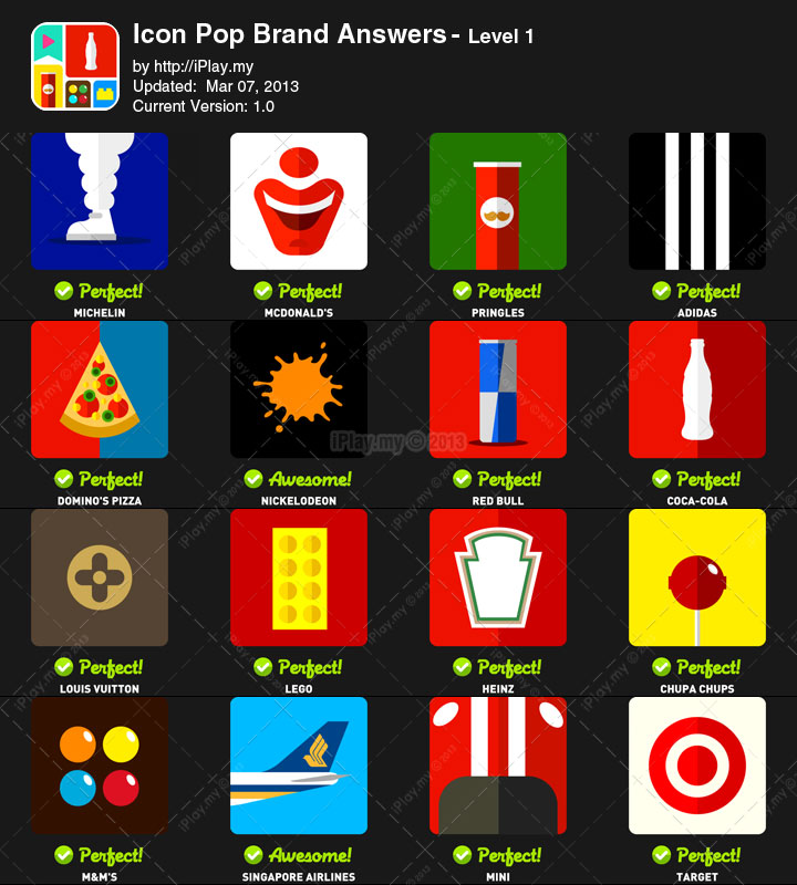 Icon Pop Brand Answers with Pictures Level 1