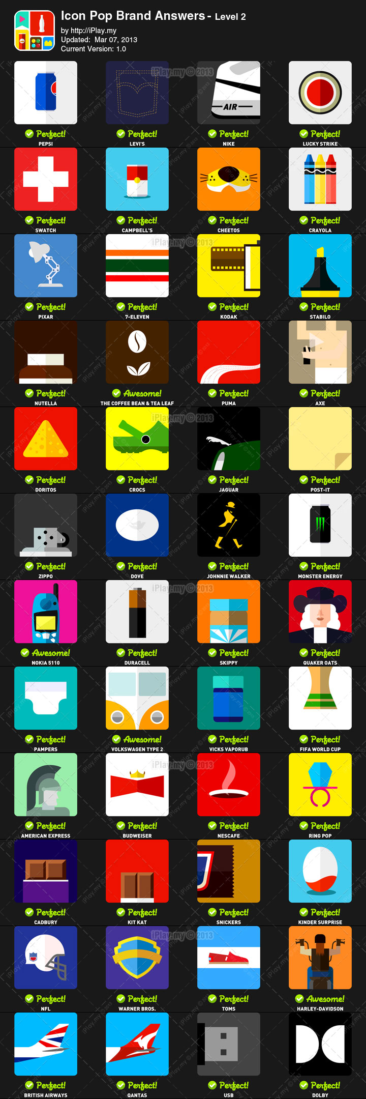 Icon Pop Brand Answers with Pictures Level 2