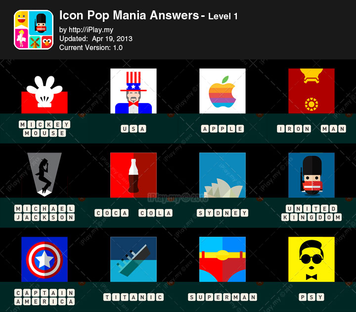 Icon Pop Mania Answers Level 1