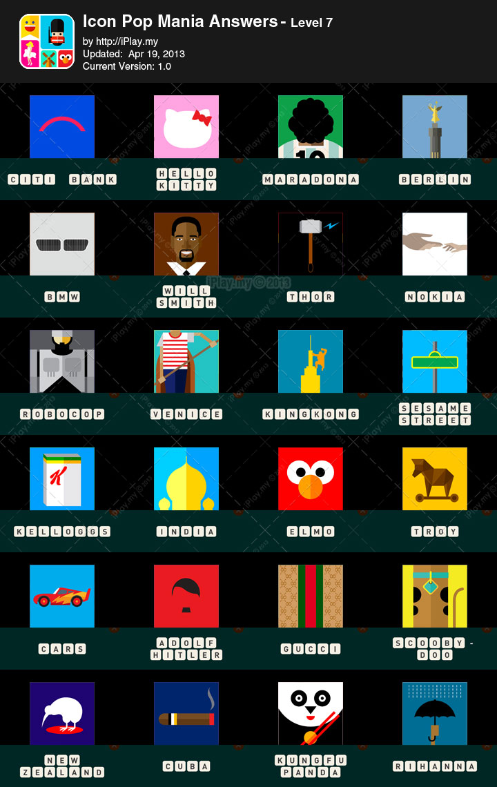 icon pop mania answers with pictures iplaymy