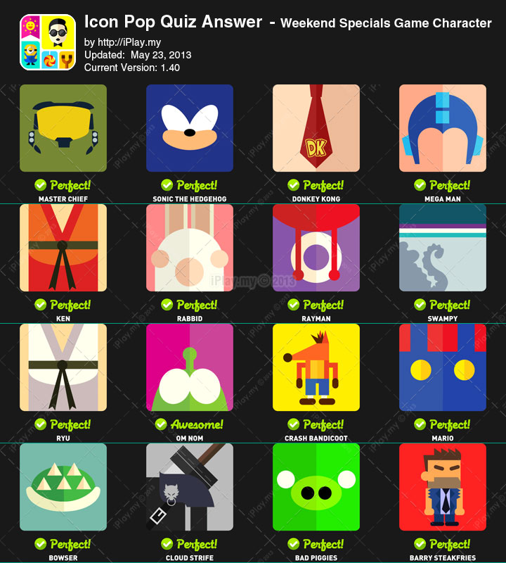 Icon Pop Quiz Answers Weekend Specials Game Character All Levels