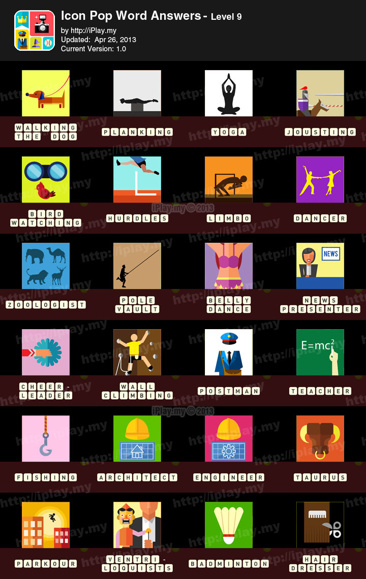 icon pop word answers all levels