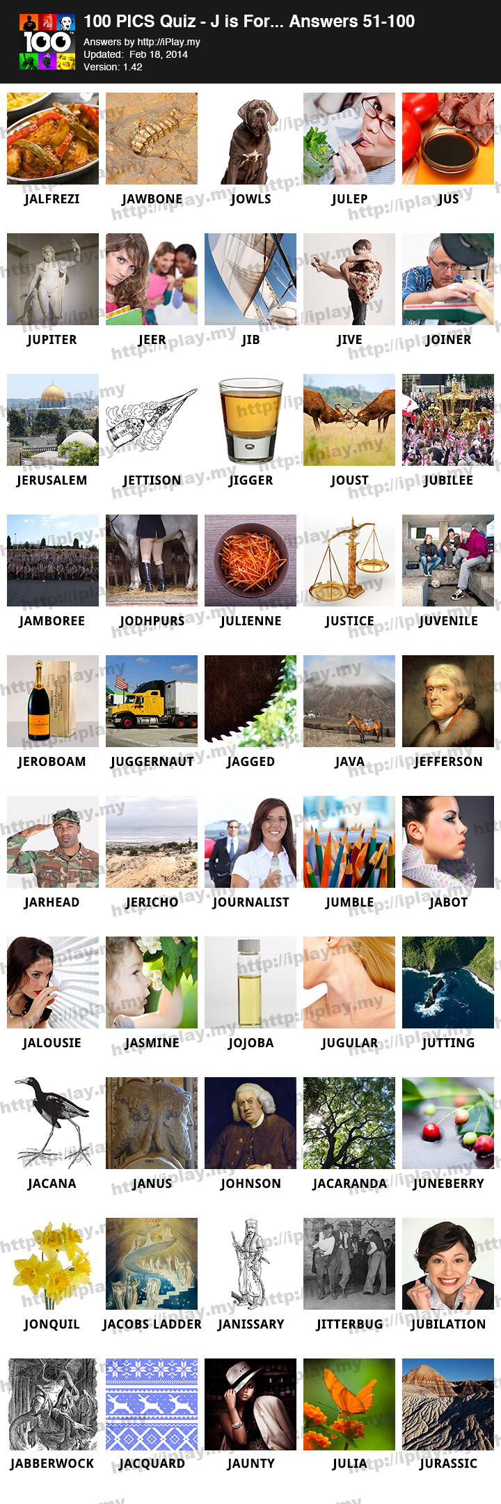 100 PICS J is for Answers | iPlay my