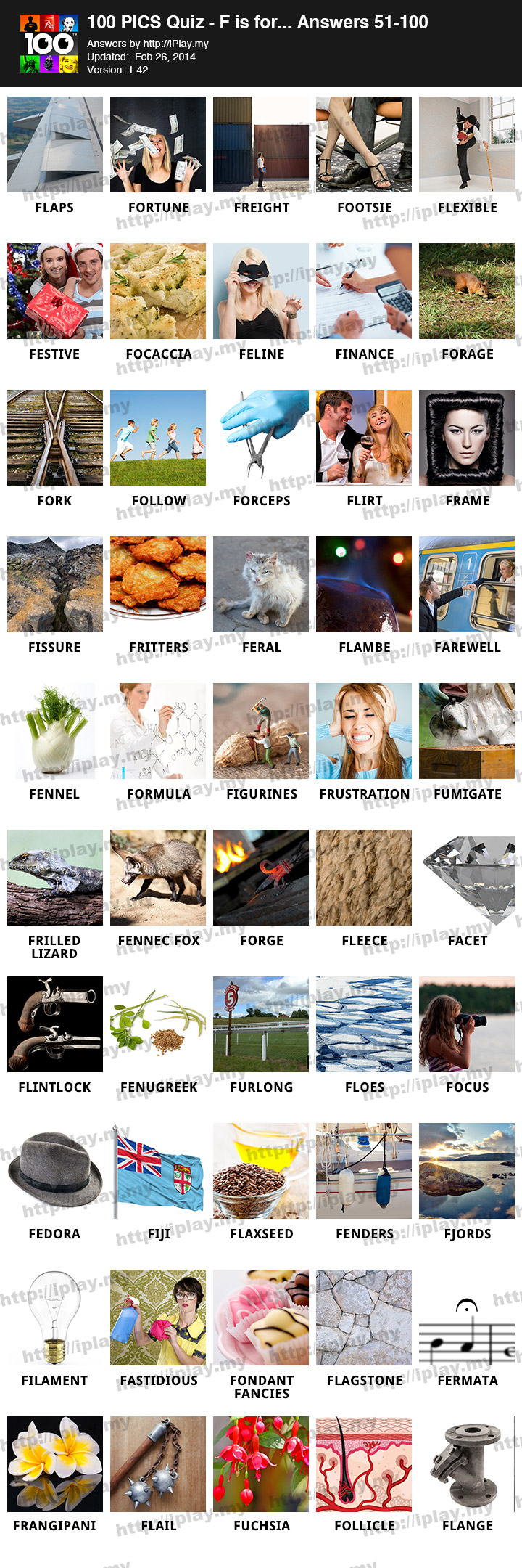 100 PICS F is for Answers   iPlay my