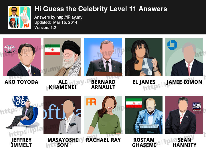 Answers for guess the celebrity level 38