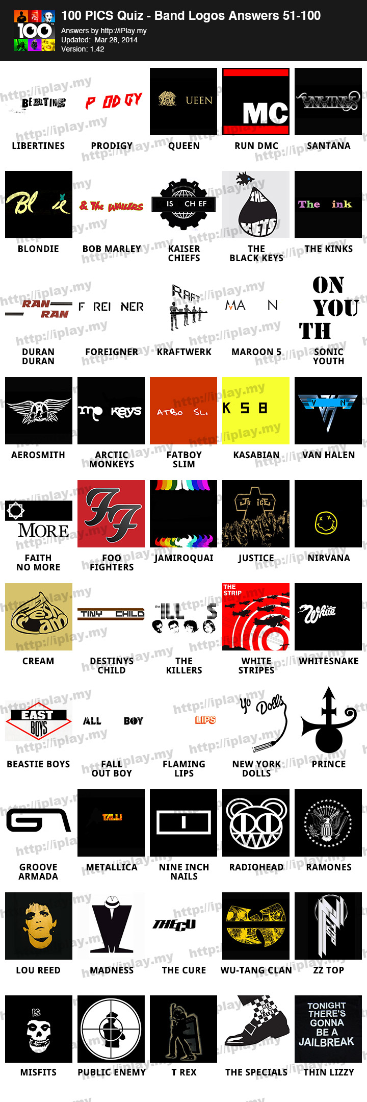 Logo Pics Answers Band Logos 100 Pics Quiz – Band Logos