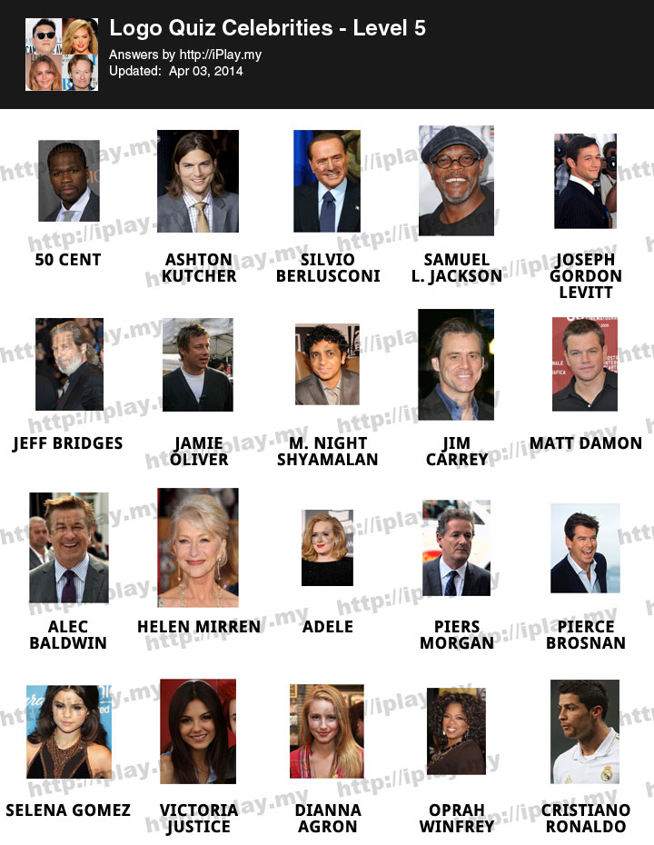 Celebrity smashup answers level 1