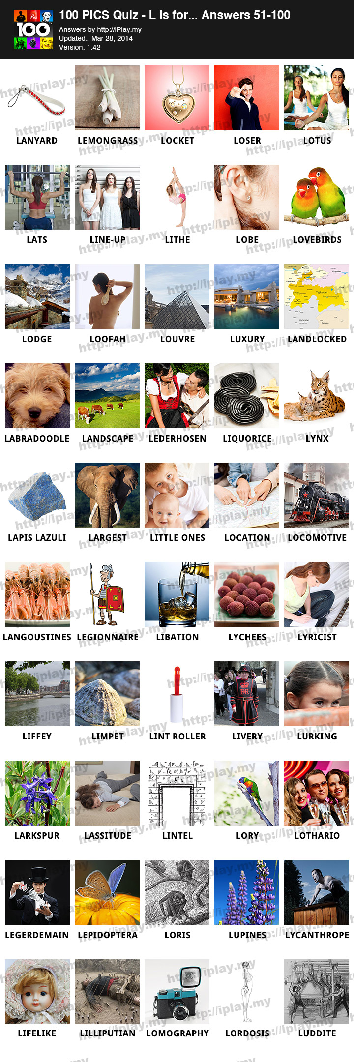 100 Pics Quiz L is for… Answers | iPlay my